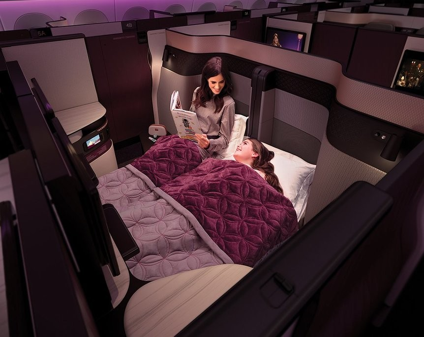 Qatar Airways, first to offer double bed on business class