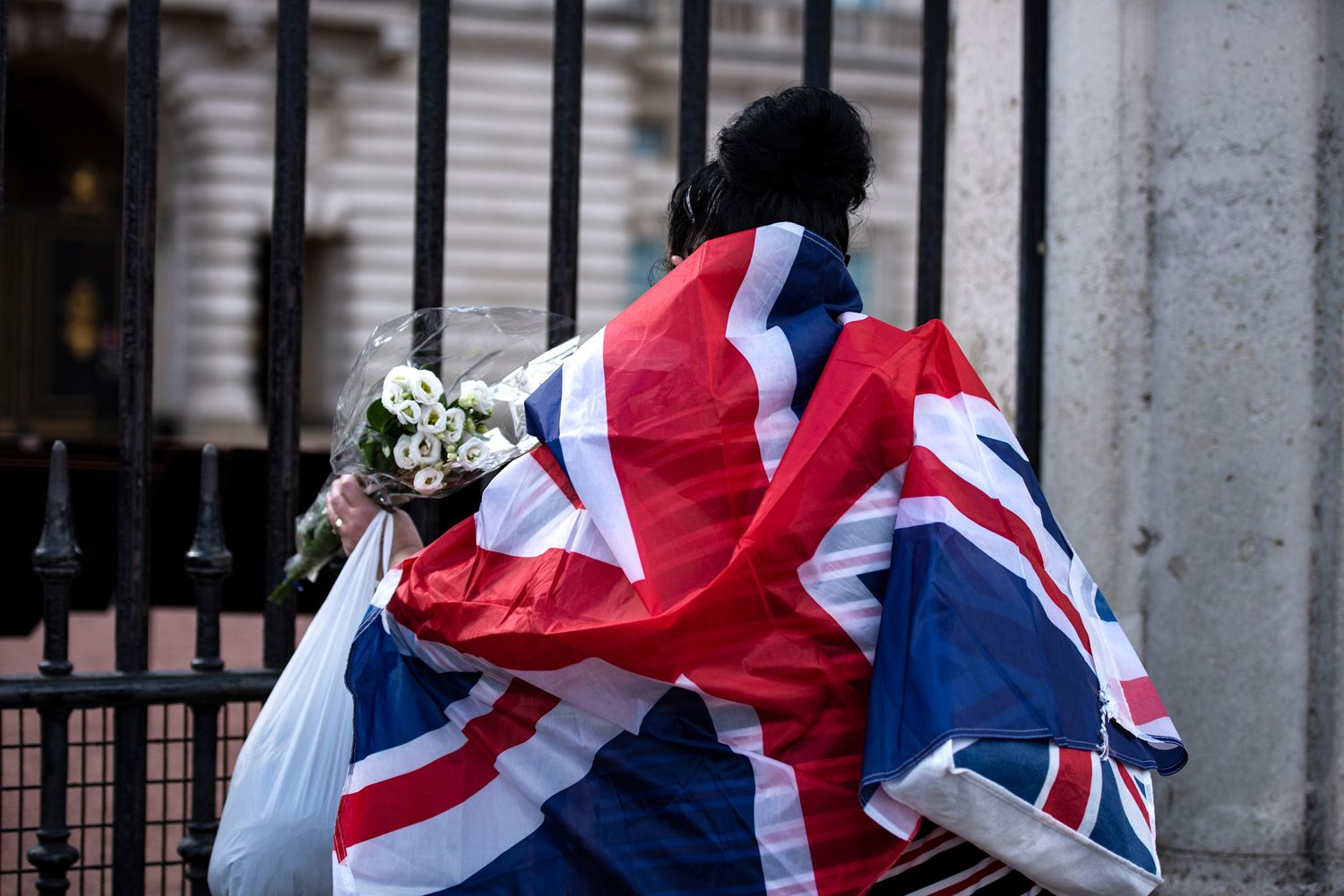 Laying of flowers tribute for Prince Philip at Buckingham Palace gate
